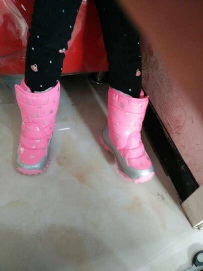 童鞋儿童靴子男女童靴子2016秋冬新款雪地靴小中大童高帮棉靴中筒防滑加绒棉鞋 粉红色 34码(内长21.8cm)正码 晒单图