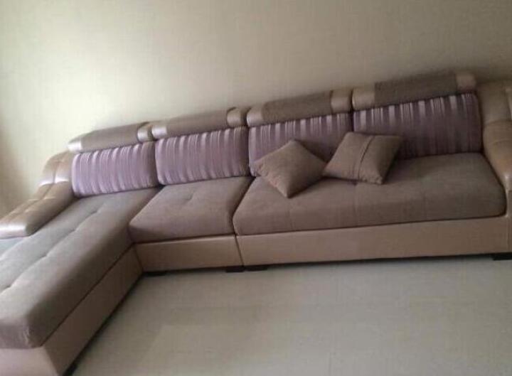 逸乐居  布艺沙发 简约现代客厅组合皮布沙发 转角大小户型沙发 浅蓝色(绒布) 单人+双人位+贵妃位3.55米总长 晒单图