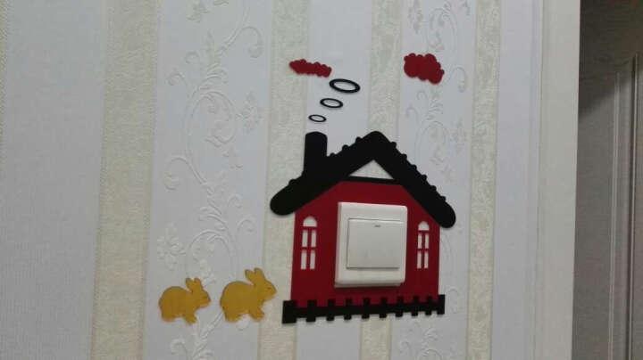镜远 -亚克力镜面立体墙贴86型开关贴儿童房开关装饰卧室卫生间开关墙贴 水晶红色配水晶黑色 大 晒单图