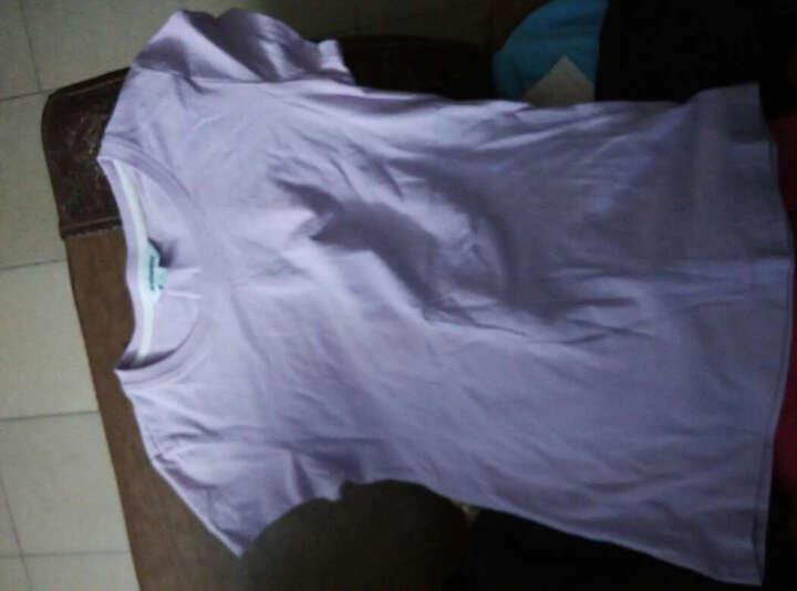 真维斯女装  夏装    弹性棉混纺圆领净色短袖T恤JW-62-273501 8300 紫色 S 晒单图