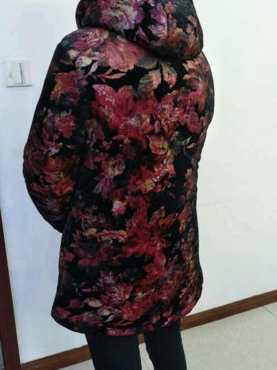 尹沐 中老年女装棉服 妈妈装棉衣中长款加绒加厚冬装金丝绒印花外套连帽奶奶装 D016-2 红色 3XL 晒单图