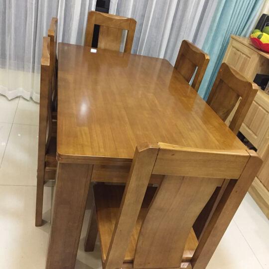 南巢 餐桌餐椅套装 实木餐桌椅组合 饭桌 餐台 餐桌椅组合套装 北欧原木大象餐桌 榉木色 一桌四椅+长凳 晒单图