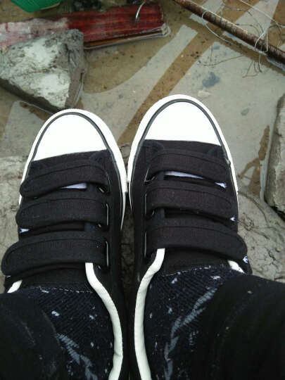 QQQ 2016春情侣帆布鞋女韩版魔术贴低帮小白鞋平底学生休闲鞋-AC22 8363浅蓝色 41 晒单图