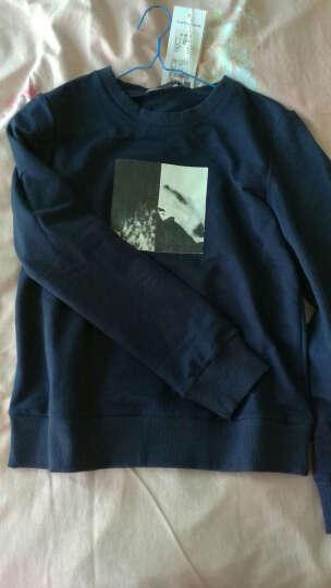 Amii[极简主义] 秋冬季新款撞色黑白印花套头大码休闲卫衣女11643107 米白 S 晒单图