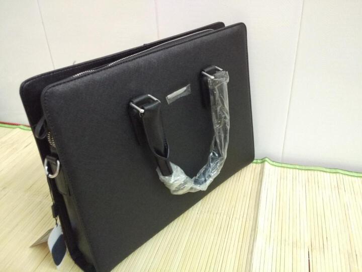 Dante丹迪公文包男士商务手提包牛皮电脑包十字纹单肩斜跨包大容量包包 A212黑色横款 晒单图