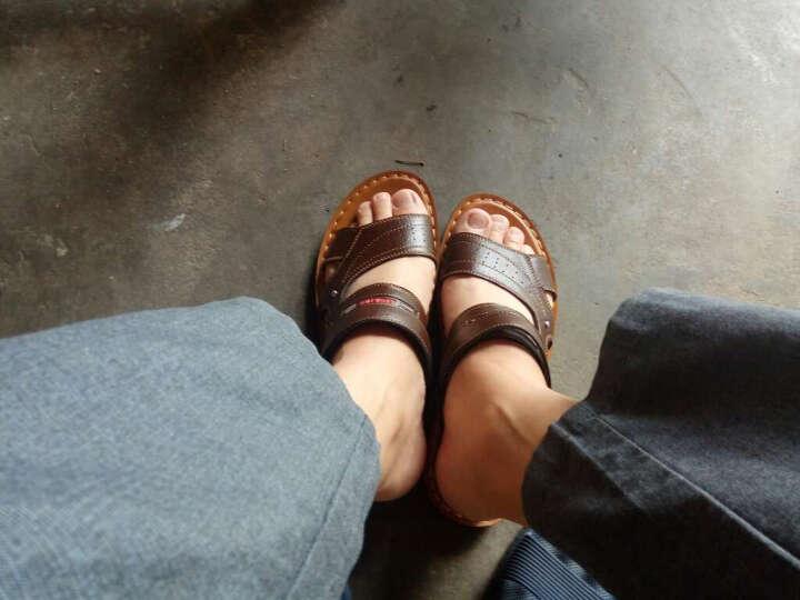 夏季男凉鞋真皮新款沙滩鞋男士休闲凉鞋牛皮沙滩鞋男透气凉拖鞋套脚露趾沙滩凉鞋 深棕色 39 晒单图