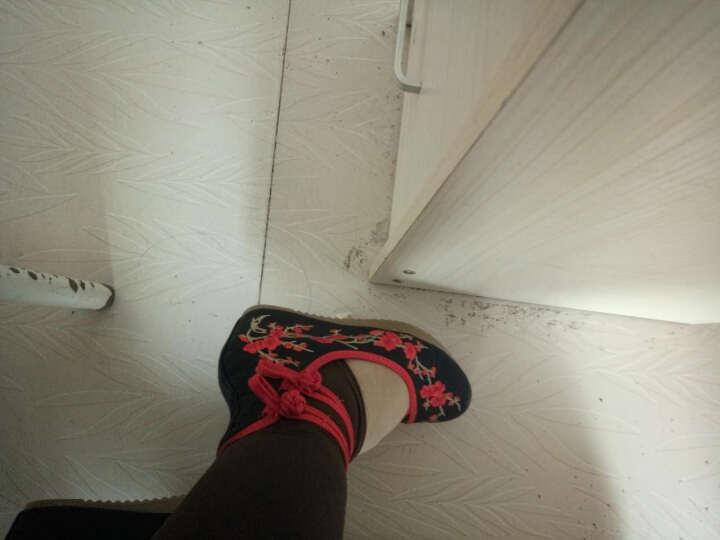汉朴思女鞋梅花老北京布鞋中国风坡跟内增高女鞋广场舞鞋民族风绣花鞋 牛仔蓝 37 晒单图