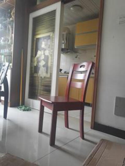 上林春天 实木餐椅现代简单木质中式凳子酒店饭店椅子家用休闲椅实木靠背椅 04款红棕色 晒单图