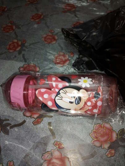 先行儿童杯迪士尼乐宝卡通系列小孩吸管杯 学生塑料水杯子防漏户外运动随手杯400ml 迪士尼米妮粉 晒单图