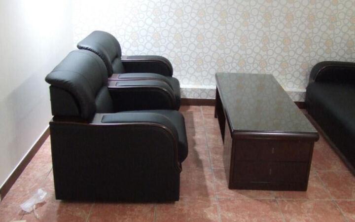 企品办公家具总经理室韩式日式办公沙发办公室现代商务接待会客办公沙发茶几组合 真皮 单人位 晒单图