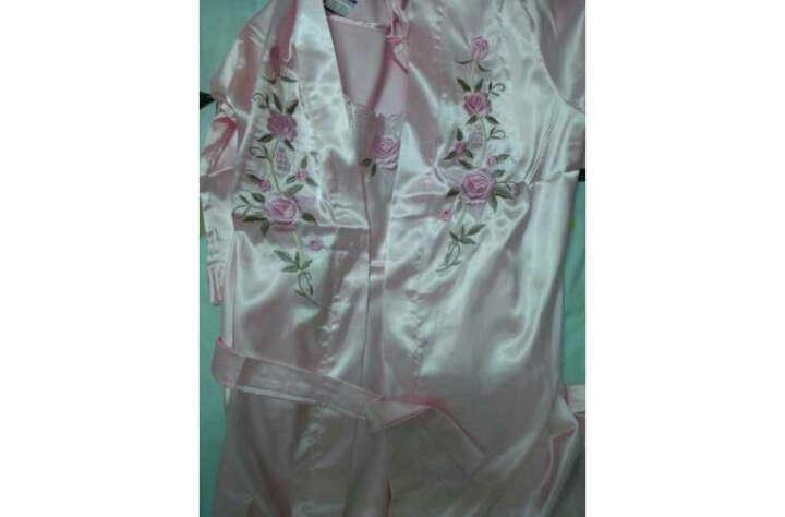 冰裳秀 冰丝睡衣女中长袖夏季睡裙2件套仿真丝吊带大码睡裙2020新款 杏色(凤舞刺绣) XL(建议110-120斤) 晒单图