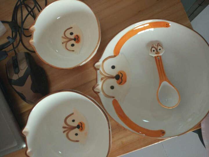 创意卡通釉下彩陶瓷碗盘子勺子套装儿童碗餐具饭碗家用小碗吃面碗汤碗 青蛙四件套 晒单图