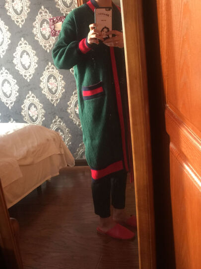 ulici 针织衫2017春装新款韩版大码 百搭宽松外套女装毛衣开衫 绿色 均码 晒单图
