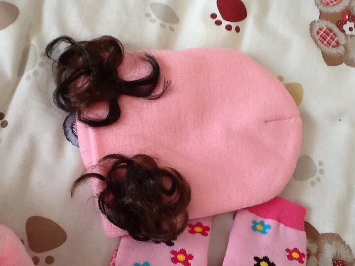 嘉乐宝杰斯卡童装韩版男女童宝宝套头帽 婴儿帽子春秋款儿童帽子假发帽子 三朵花粉色 建议0-4岁左右 晒单图