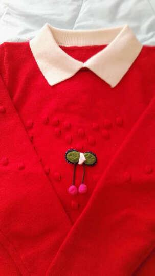 儿童毛衣加绒加厚女童韩版小女孩假两件女童毛衣打底衫儿童中大童针织衫 红色-加绒 140 晒单图