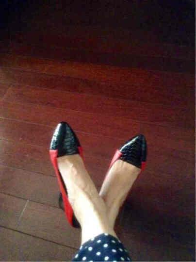 浓情漫宇牛皮粗跟单鞋女2020春秋季新款双色拼接女士皮鞋中跟大码女鞋43尖头真皮浅口工作鞋女C040 红色 39 晒单图