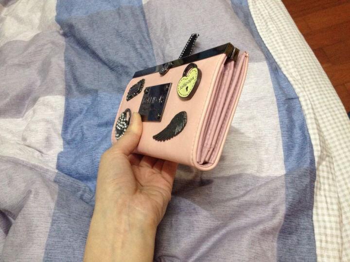 LOLLIPOPS法国棒棒糖欧美时尚徽章长款钱包女 手拿钱包女长款多卡位搭扣 玫红色 Pink 晒单图
