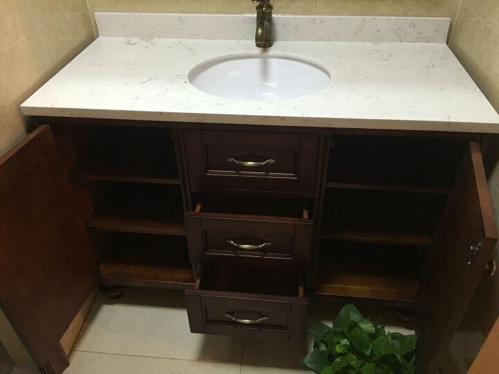 杜班尼(DUBANNY) 8125美式实木落地浴室柜组合套装 卫浴柜洗漱台洗脸洗手面盆柜 120cm浅胡桃 晒单图