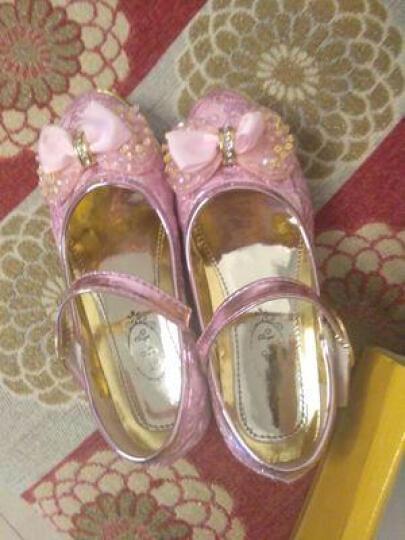 迷你狮(MINILION)女童鞋女童皮鞋 儿童公主鞋2018新款蝴蝶结韩版时尚中大童单鞋 A18粉色 30码内长18.2cm 晒单图
