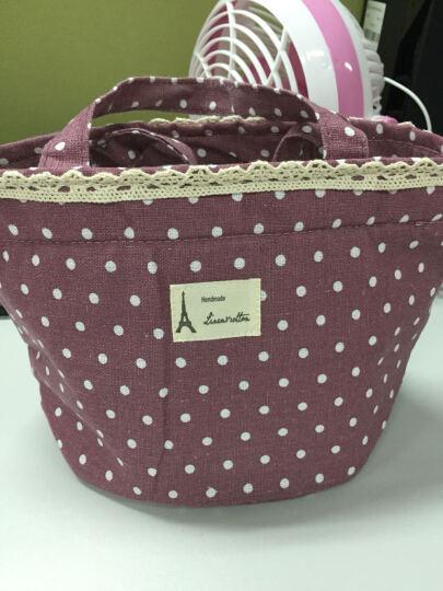 韩国棉麻波点便当包 手拎包冰包 饭盒保温包 保温袋 紫色 晒单图