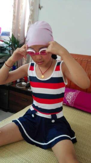 力酷 新款儿童泳衣女童 中大童连体裙式平角儿童泳衣女孩学生游泳衣套装 蓝色碎花粉色套装 XXL(65-75斤) 晒单图