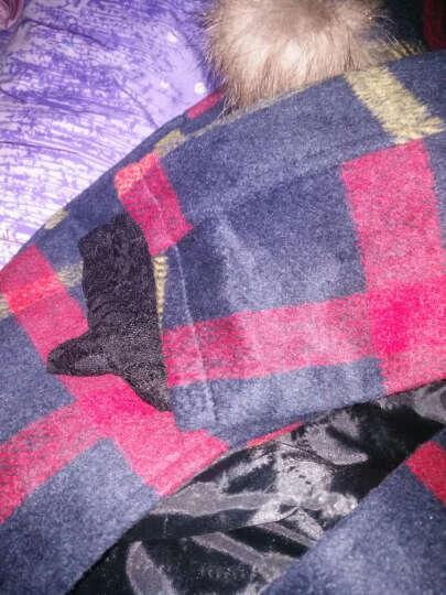 欧雀尼2018秋冬款新款英伦学院风加厚毛呢外套格子中长款连帽呢子大衣毛球女潮 红黄格 XL 晒单图