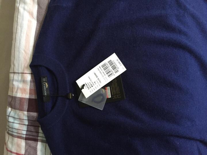 鳄鱼恤羊绒衫男士山羊绒圆领经典款针织衫毛衣 暗湖蓝 100#(165/S) 晒单图