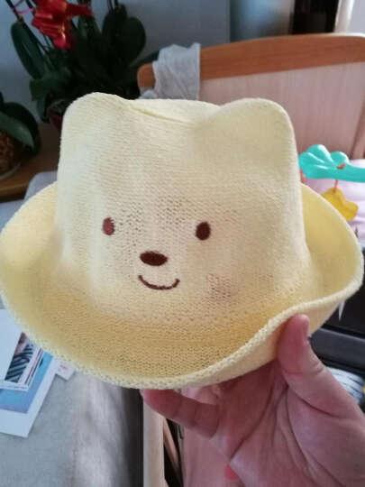 春夏儿童草帽秋男女宝宝帽子婴儿帽子韩国韩版遮阳套头帽棉帽 小熊草帽奶白 晒单图