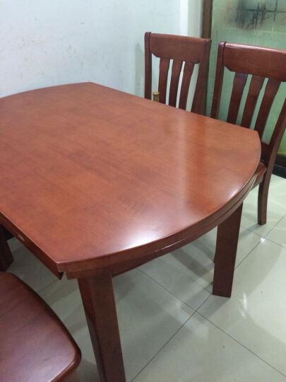 鲁菲特 餐桌 可伸缩折叠实木餐桌餐椅组合套装 饭桌子圆桌  LC-603 1.2米海棠色 一桌6椅 晒单图