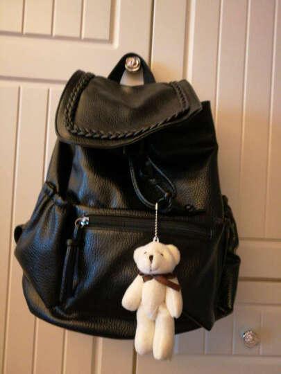 名夏双肩包女韩版新款女士背包学生休闲书包大容量软皮旅行包 编织款-送小熊 晒单图