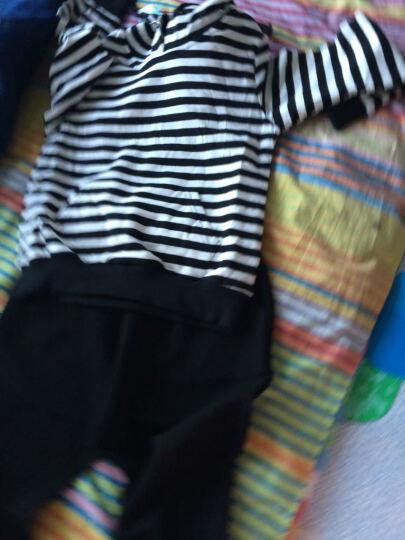 童装女童套装男儿童秋装中大童品牌条纹长袖T恤休闲小学生运动校服卫衣长裤子小孩衣服 带帽细条纹款 120码建议身高110CM左右 晒单图