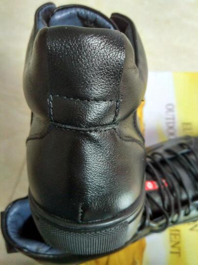 HCHAOMADI男鞋英伦时尚休闲鞋系带高帮棉鞋时尚男靴头层皮男士休闲皮鞋8088 黑色 40 晒单图