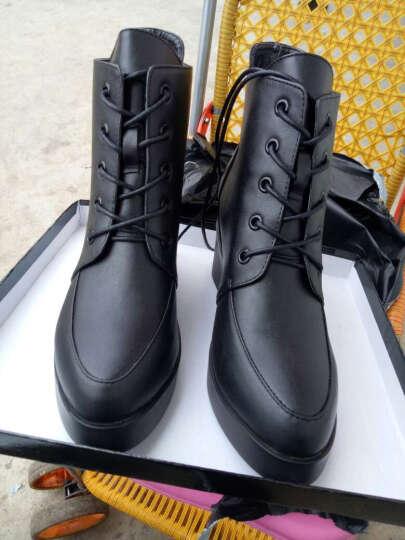 哥策2017新款马丁靴英伦系带女靴内增高短靴坡跟女棉靴裸靴 黑色皮里 38 晒单图