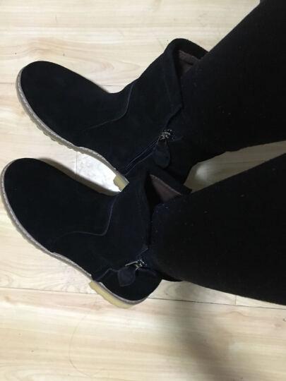 爱麦思2018秋冬新款女靴擦色复古马丁靴雪地靴女平底磨砂皮短靴粗跟女鞋 卡其加厚 36 晒单图