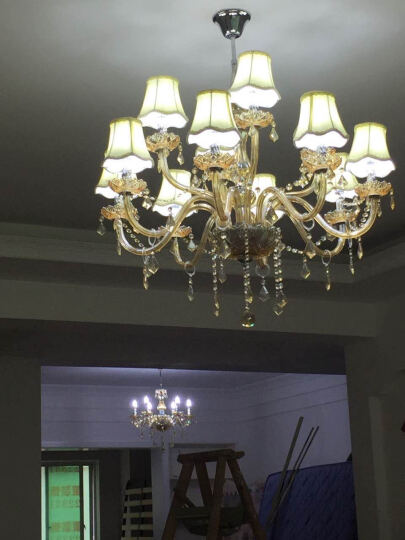 水晶吊灯欧式客厅灯现代简约卧室灯创意顶灯led餐厅灯金粉世家系列灯饰带白光灯泡 6头带罩琥珀 备注灯罩款式 晒单图