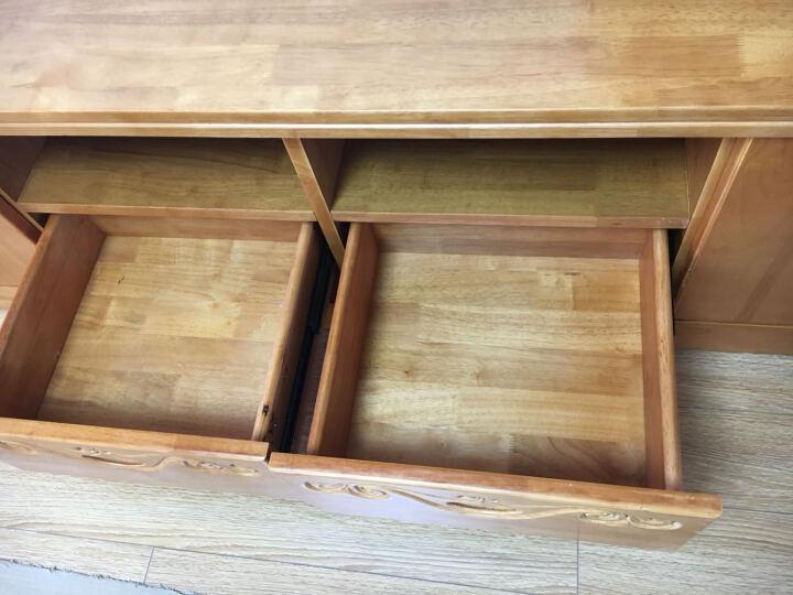 卡菲丽 全实木电视柜酒柜组合柜 中式电视墙柜厅柜柜带储物空间边柜挂板 春茶色 晒单图