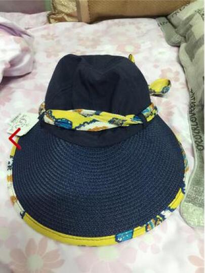 迷人微笑 遮阳帽女士夏天韩版运动户外防晒草帽可折叠大檐太阳帽新品 卡其01 晒单图