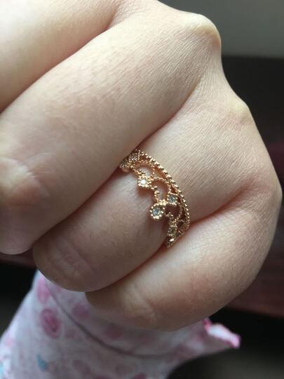 周生生 V&A Bless 18K金戒指红色黄金戒指钻石皇冠戒指 求婚戒指 87041R 13圈 晒单图