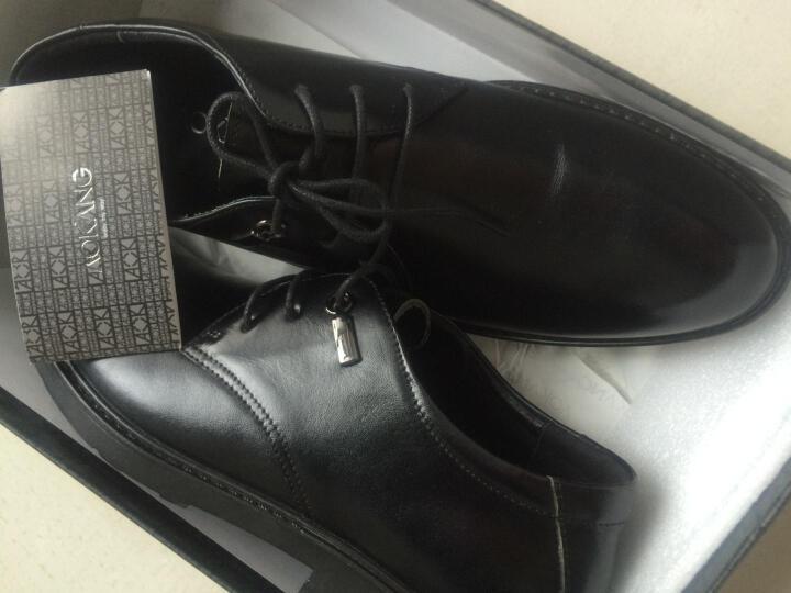 奥康皮鞋 春季新品商务休闲鞋系带正装鞋英伦风内增高男士皮鞋真皮结婚鞋子男 黑色四季款 42 晒单图