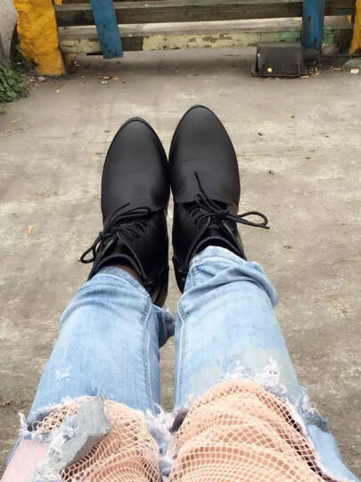 缤梦短靴牛皮马丁女靴系带圆头侧拉链粗跟加棉靴子加绒中跟低筒靴秋冬季新款女鞋 皇冠款单鞋 36 晒单图