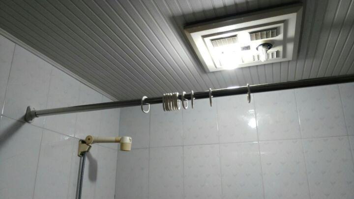 宏明不锈钢弹簧浴帘杆伸缩杆 一杆多用 可同时做晾衣杆窗帘杆毛巾杆 承重强 加粗加厚杆 85-150cm  墙距90-130使用 晒单图