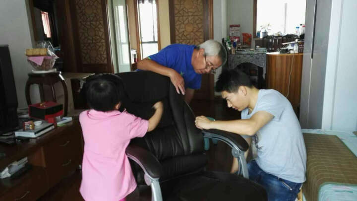 绿豆芽 电脑椅 家用 可躺老板椅 办公椅 皮椅 可选牛皮椅子 人体工学转椅座椅D1518 琥珀色pu皮+150度可躺+搁脚 铝合金脚 晒单图