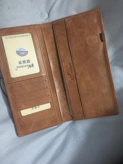 超薄钱包男长款薄款个性手机包商务休闲手包青年软皮男士卡包真皮 豆沙 晒单图