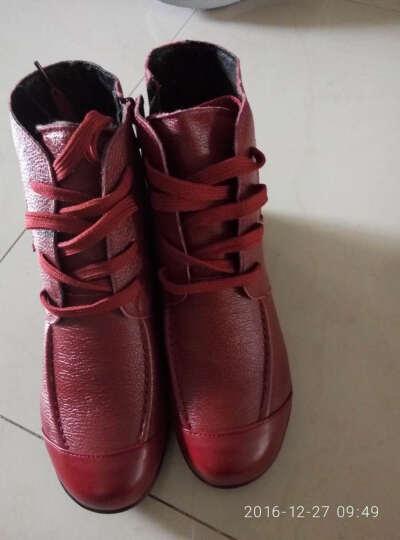 步莱恩 新款防滑加绒中老年人妈妈鞋坡跟防滑大码棉鞋女士保暖棉皮鞋短靴软面休闲女靴子 红色厚绒 39 晒单图