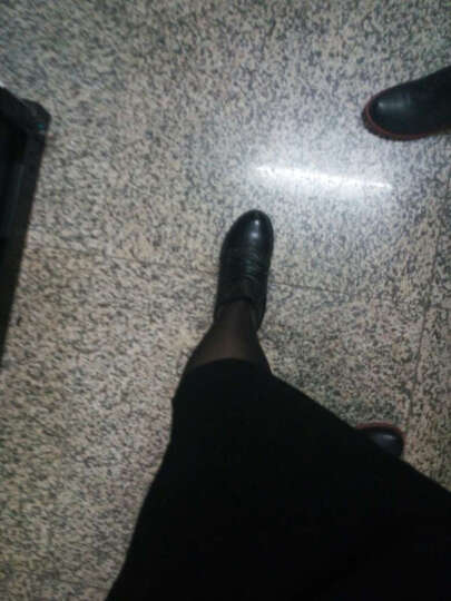 华洛威秋冬新款韩版真皮女靴时尚短靴厚底粗跟马丁靴中筒布洛克机车骑士女靴子 黑色单里 38 晒单图