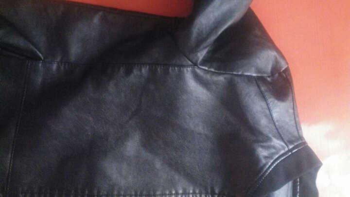 凯特诺森 皮衣男薄款加绒机车皮夹克外套韩版修身青年秋冬季立领加厚保暖PU皮衣 黑色-薄款 XL 晒单图