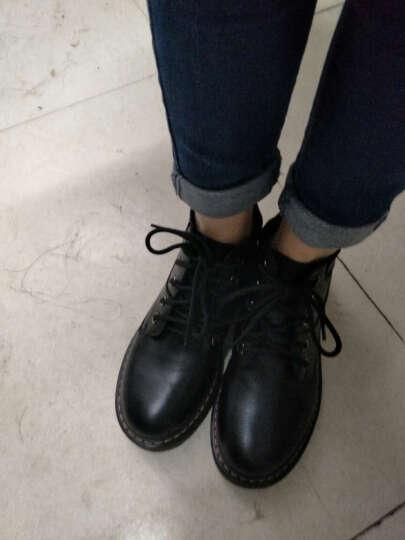 海月姬女靴秋冬新款短靴真皮马丁靴女靴单靴平跟厚底机车靴女靴子198 黑色单里 36 晒单图
