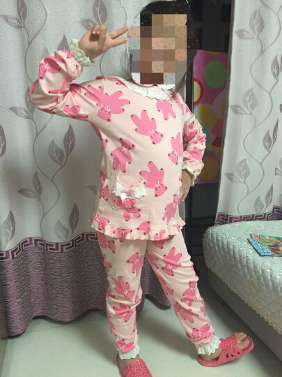 淳朴女士儿童睡衣睡裙纯棉春秋季卡通小女孩长袖亲子母女宝宝家居服 小熊短袖睡裙 16码(适合身高140-150cm) 晒单图