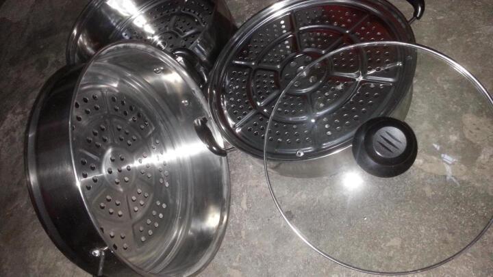 建丽(JIANLI) 蒸锅 不锈钢蒸锅2层三层加厚蒸笼蒸格汤锅双层煤气电磁炉蒸鱼馒头锅具 组合盖单底四层蒸锅(28CM) 晒单图