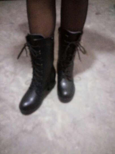 世珍鹰  2017秋冬真皮短靴单棉里靴子平底粗跟靴欧美舒适时尚坡跟潮马丁靴 黑色单里 37 晒单图